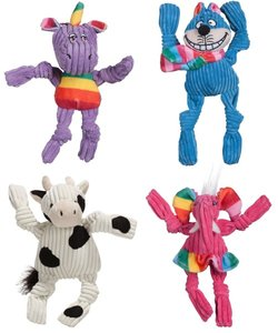 Knottie HuggleHound 4 knuffels kat, olifant, koe en unicorn