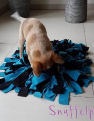 Snuffelkussen maat M blauw zwart met hond