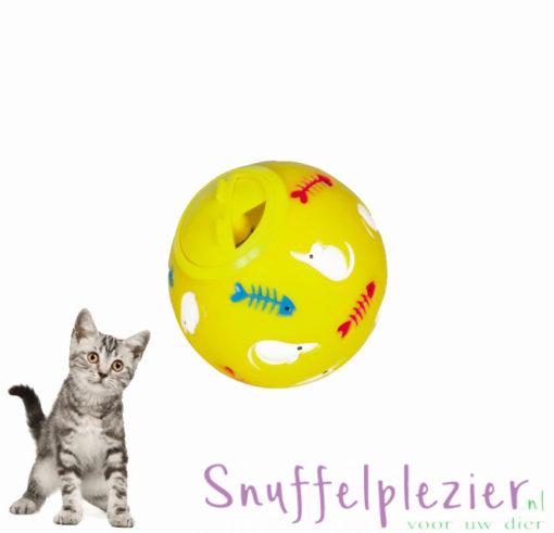 snackbal / voerbal nobby maat S geel voor katten